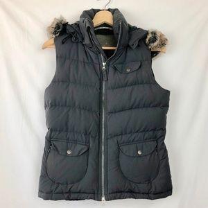 Athleta | Goose Down Puffer Vest Faux Fur Hoodie